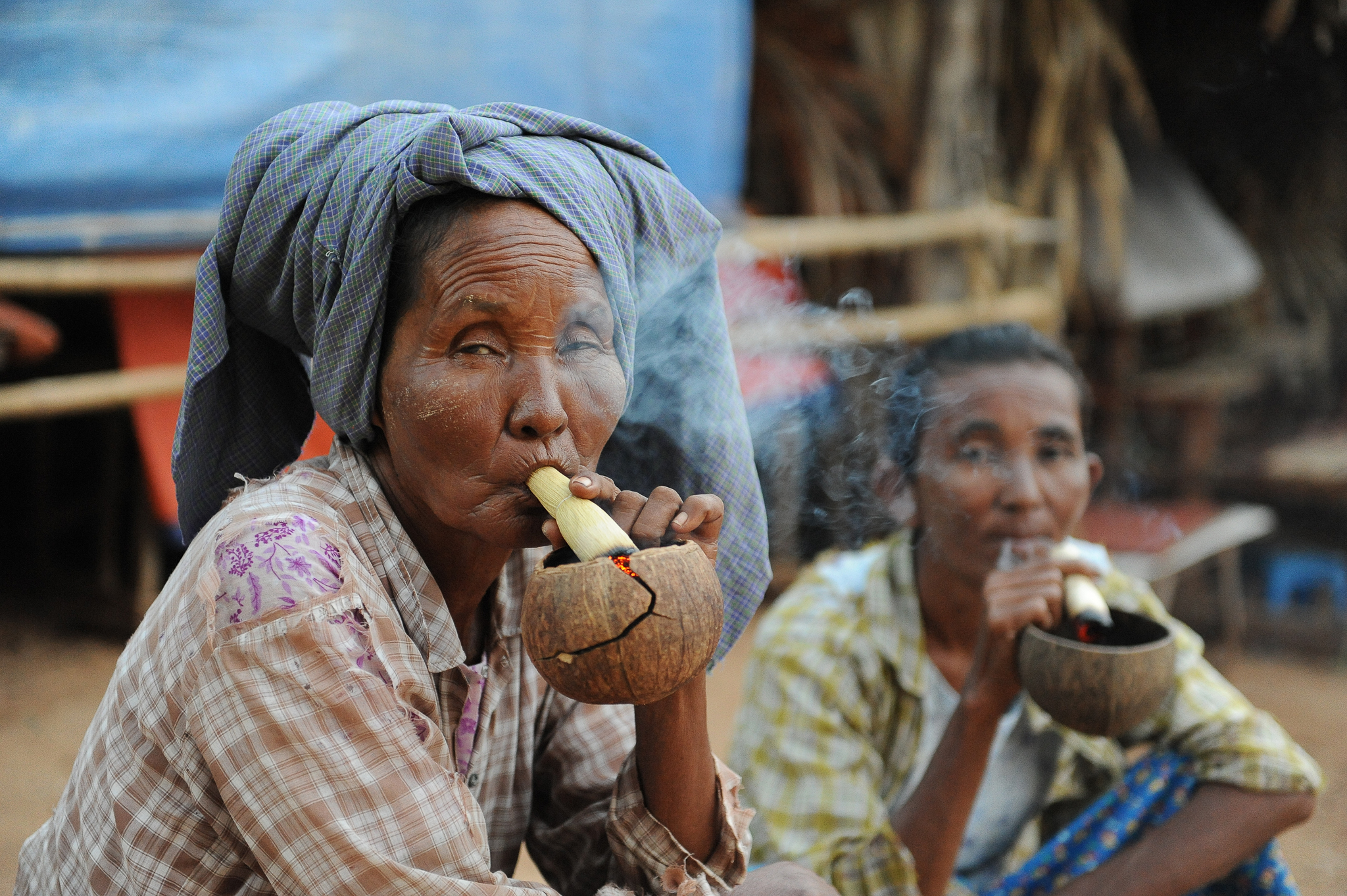 Smoking something in Bagan Myanmar