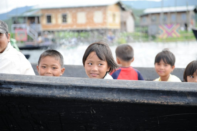 Children returning from school Inle Lake