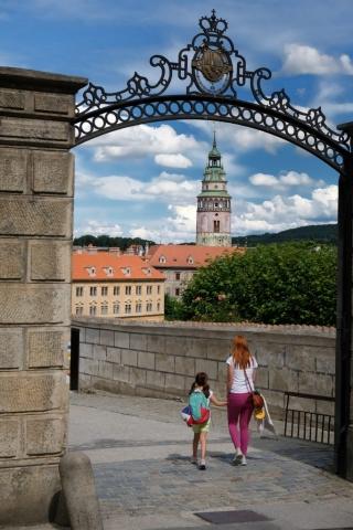 Walking back towards Cesky Krumlov Castle